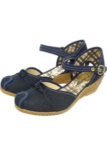 Sandália Romântica Calçados Anabela Xadrez Jeans - Tricae