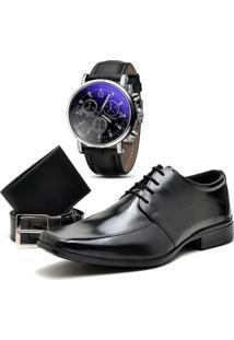 Sapato Social Top Flex Cinto Carteira E Relógio 804L Preto