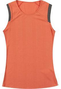 Blusa Canelada Com Decote Redondo Laranja