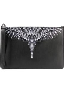 Marcelo Burlon County Of Milan Clutch Com Estampa De Plumas - Preto