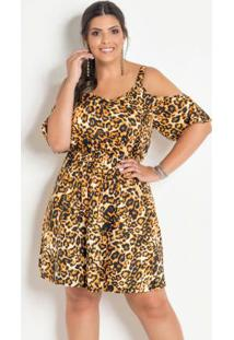 f2611e3e5c Vestido Ciganinha Plus Size Onça Com Alças