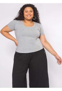 T-Shirt Almaria Plus Size Clamarroca Cinza