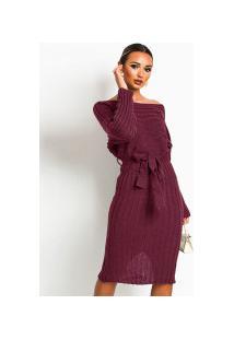 Vestido Primavera Mid Feminino - Vermelho Vinho