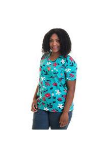 Blusa Básica Plus Size Cotton Estampada 12521