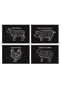 Placas Decorativas Cozinha Cortes De Churrasco 20X30Cm Kit 4Un