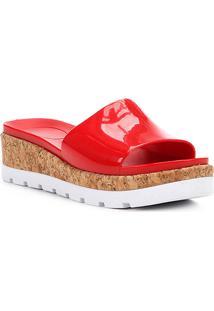 Sandália Plataforma Shoestock Verniz Feminina - Feminino-Vermelho