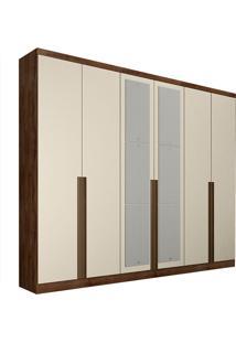 Guarda-Roupa Casal Com Espelho 6 Portas E 6 Gavetas Macau-Novo Horizonte - Canela / Off White