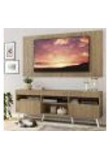 """Rack Com Painel Tv 65"""" Londres Multimóveis Pés Retrô E 2 Portas Rustic/Branco"""