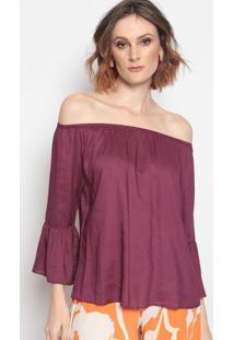 Blusa Ciganinha Com Recortes - Roxa - Mobmob