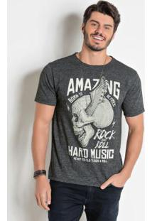 Camiseta Actual Chumbo Em Malha Flamê Molinê
