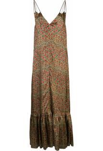 Khaite Vestido Evasê Com Estampa Paisley - Vermelho