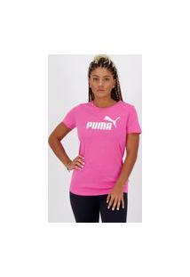 Camiseta Puma Essentials Feminina Rosa Mescla