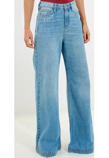 Calça Bobô Paloma Jeans Azul Feminina (Jeans Claro, 34)