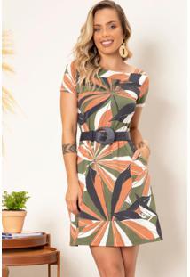 Vestido Floral Color Com Decote Quadrado