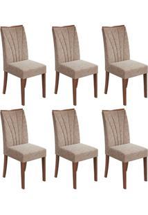 Conjunto Com 6 Cadeiras Apogeu Ll Imbuia E Bege