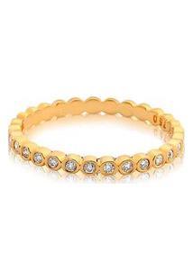 Meia Aliança Ouro Amarelo Com 16,5 Pontos De Diamantes