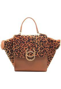 Bolsa Birô Pequena Shopper Feminina - Feminino-Laranja Escuro