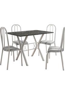 Conjunto De Mesa Miami 4 Cadeiras Branco/Preto Listrado Fabone