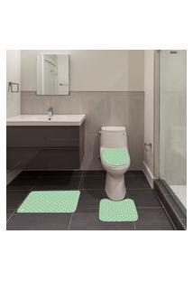 Jogo De Banheiro Ornamental Verde Único
