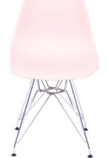 Cadeira Eames Dkr- Salmão & Prateada- 80,5X46,5X42Cmor Design