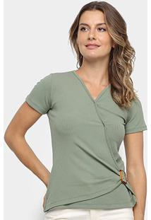 Blusa Los Wear Canelada Transpassada Com Fivela Feminina - Feminino-Verde Militar