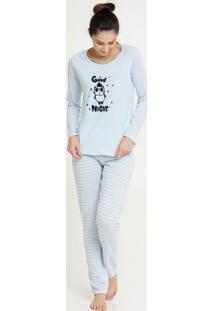 Pijama Feminino Panda Listrado Manga Longa Marisa