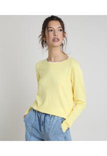 Suéter Feminino Básico Em Tricô Decote Redondo Amarela