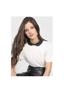 Camiseta Lança Perfume Gola Bordada Off-White/Preta
