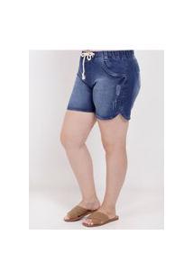 Short Jeans Com Puídos Plus Size Feminino Azul