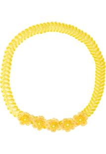 Faixa De Cabelo Trançada Flores & Pérolas Amarela - Roana 23840021013 Faixa Trançada Detalhe Tricot Amarelo