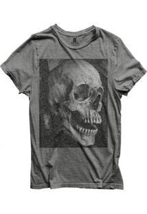 Camiseta Masculina Joss Skull Aberta Cinza Médio