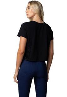 Camiseta Femininca Com Renda - Feminino-Preto