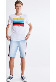 Bermuda Em Jeans Com Faixa Nas Laterais
