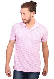 Camisa Polo Golf Club Full Print - Masculino-Rosa