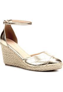 Sandália Anabela Shoestock Matelassê Corda Feminina