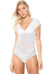 Body Calvin Klein Underwear Tule Janaina Branco - Branco - Feminino - Poliamida - Dafiti