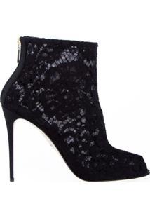 Dolce & Gabbana Ankle Boot De Renda - Preto