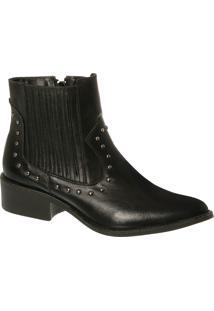 Ankle Boot Country Em Couro Preto Com Cravinho E Salto Médio