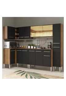Cozinha Completa De Canto Madesa Emilly Wave Com Armário Vidro Reflex, Balcão E Paneleiro Rustic/Preto Cor:Rustic/Preto