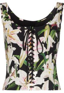 Dolce & Gabbana Corset Floral Com Amarração - Preto