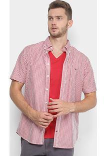 Camisa Tommy Hilfiger Manga Curta Listrada Regular Fit Masculina - Masculino-Vermelho