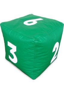 Puff Infantil Dado Grande Em Couro Sintético Verde Com Números Brancos