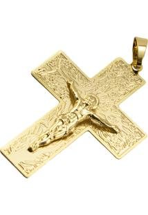 Pingente Cruz Tudo Jóias Folheado Dourado