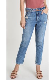 Calça Jeans Feminina Mom Cintura Super Alta Destroyed Com Cinto Azul Médio
