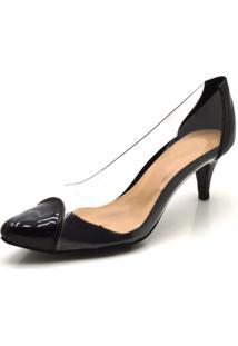 Sapato Scarpin Salto Baixo Em Napa Verniz Preta Com Transparência