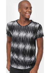 Camiseta Watkins&Krown Estampada Masculina - Masculino-Preto+Branco