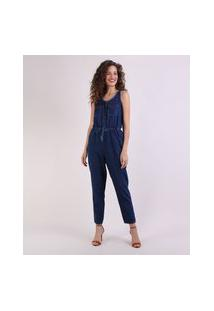 Macacão Jeans Feminino Com Bolsos Sem Manga Azul Escuro