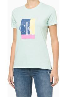 Blusa Feminina Ck Colorido Acqua Verde Clara Calvin Klein Jeans - P