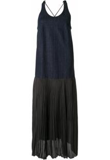 Muller Of Yoshiokubo Vestido Jeans Sem Mangas Com Pregas - Azul