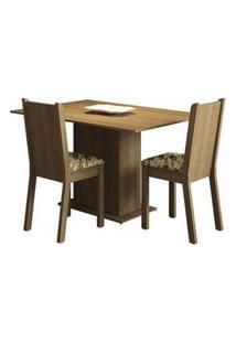 Conjunto Sala De Jantar Madesa Mel Mesa Tampo De Madeira Com 2 Cadeiras Rustic/Bege Marrom Rustic/Bege Marrom